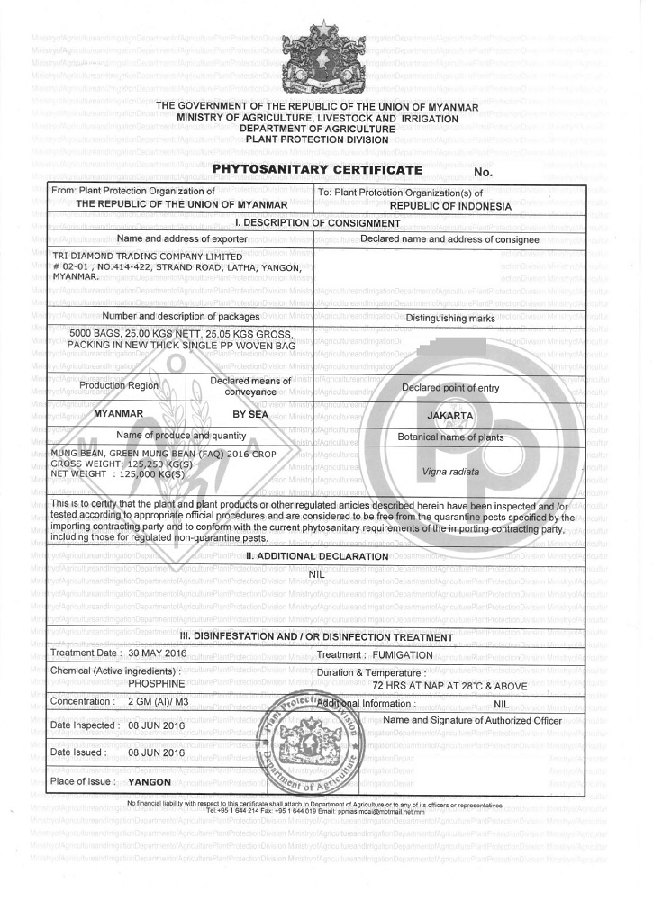 Phytosanitary Certificate Tri Diamond Agriculture Trading